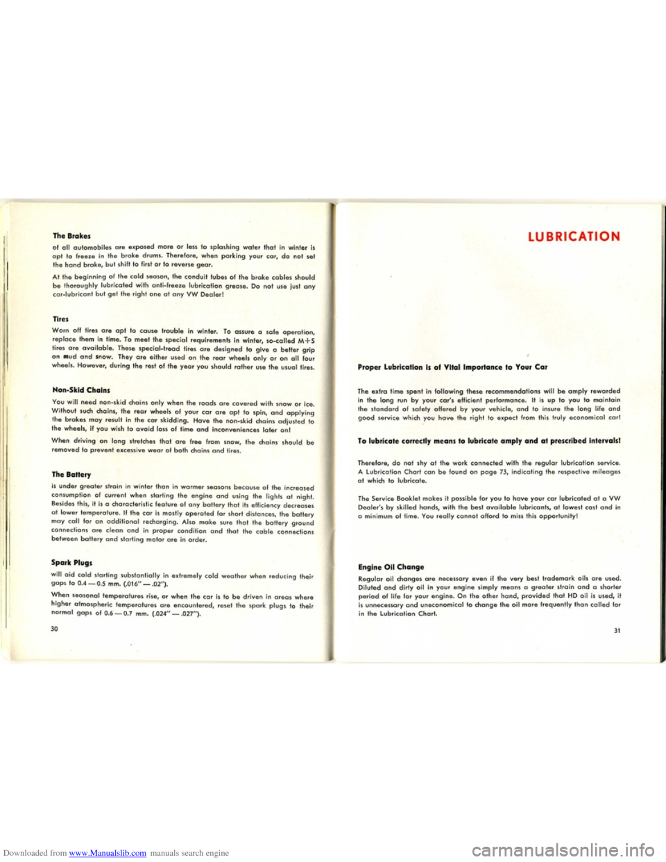 VOLKSWAGEN KARMANN GHIA 1958 1.G Owners Manual, Page 17