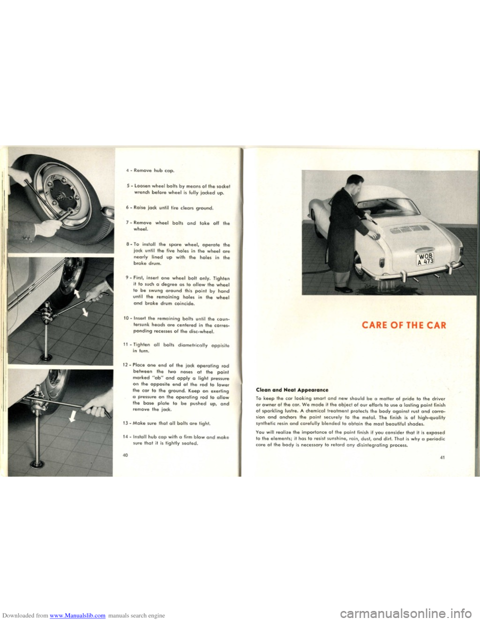 VOLKSWAGEN KARMANN GHIA 1958 1.G Owners Manual, Page 22