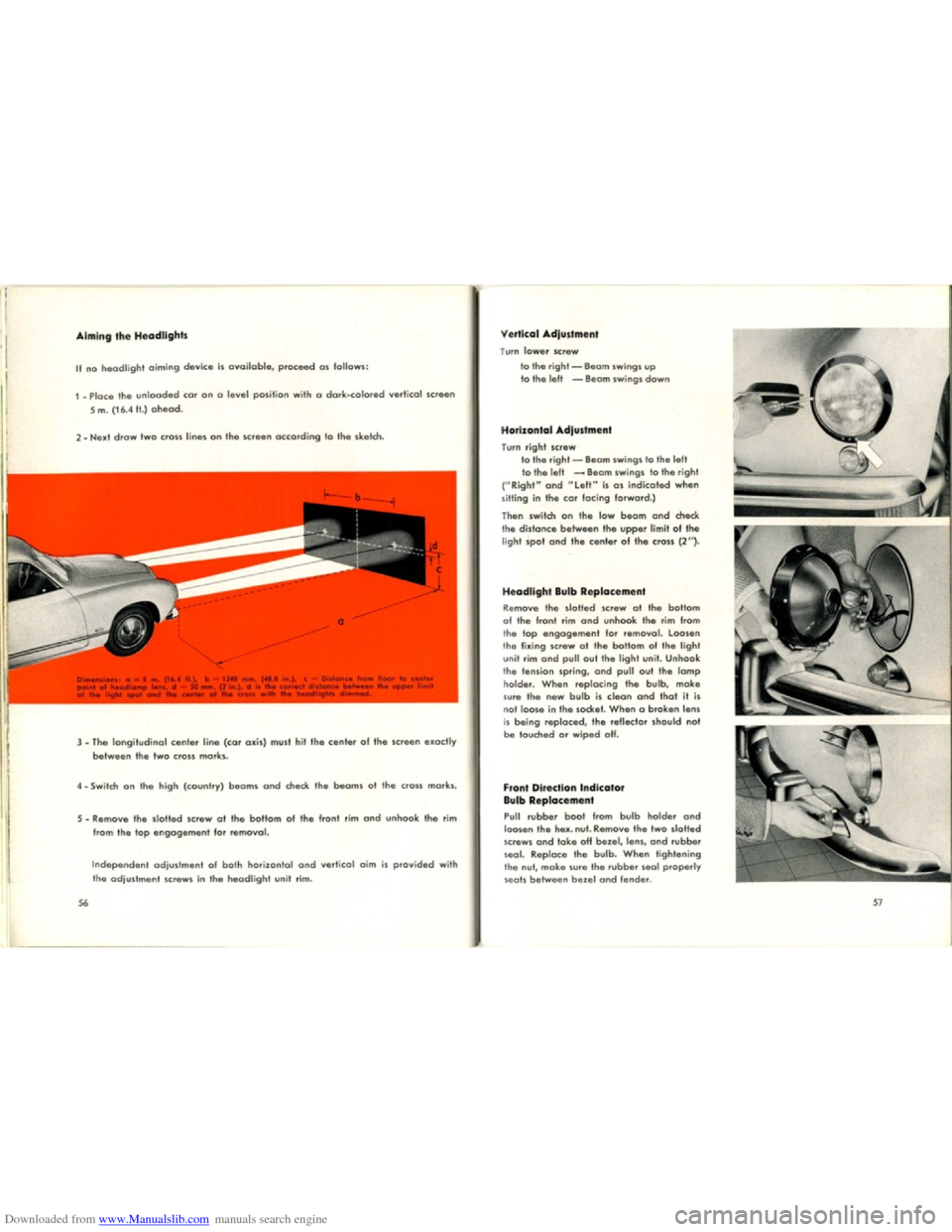 VOLKSWAGEN KARMANN GHIA 1958 1.G Owners Manual, Page 30