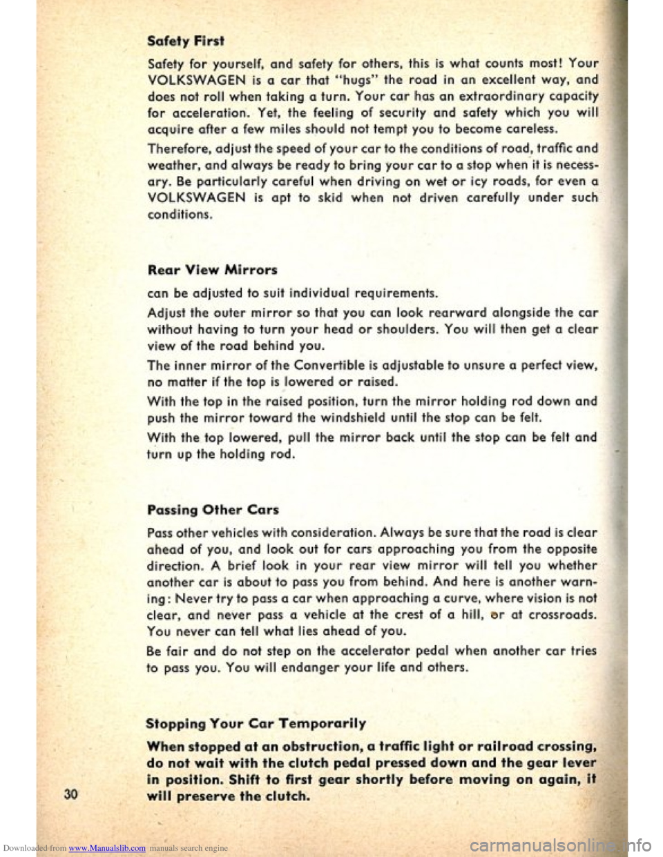 VOLKSWAGEN BEETLE 1960 1.G Owners Manual, Page 32