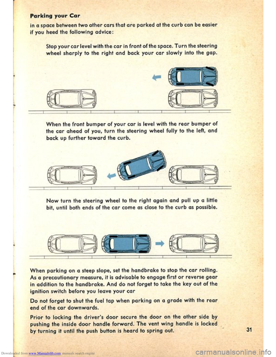 VOLKSWAGEN BEETLE 1960 1.G Owners Manual, Page 33