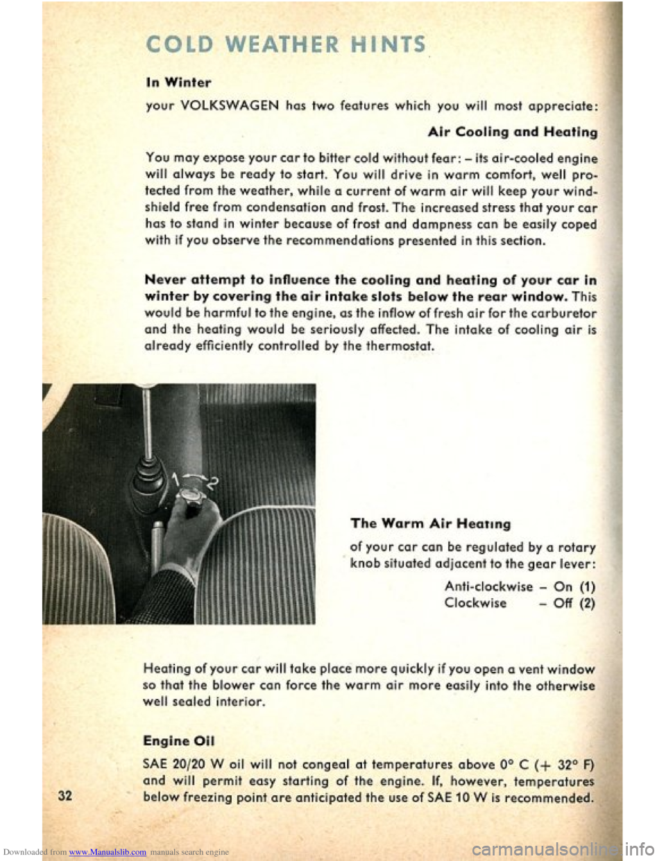VOLKSWAGEN BEETLE 1960 1.G Owners Manual, Page 34