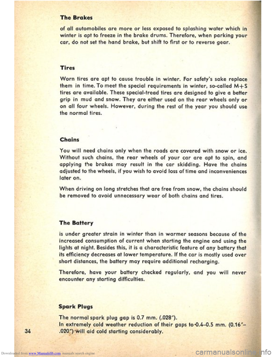 VOLKSWAGEN BEETLE 1960 1.G Owners Manual, Page 36