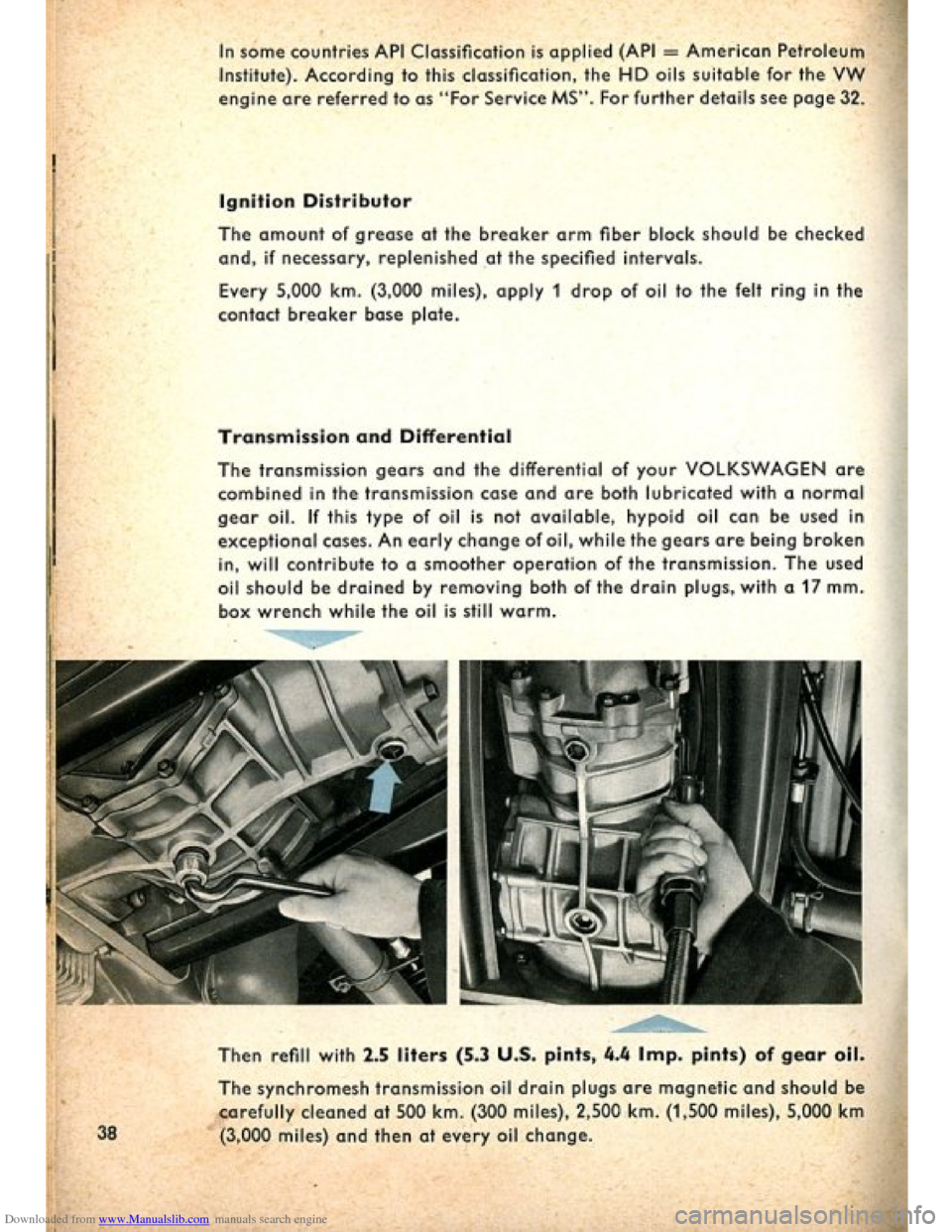 VOLKSWAGEN BEETLE 1960 1.G Owners Manual, Page 40