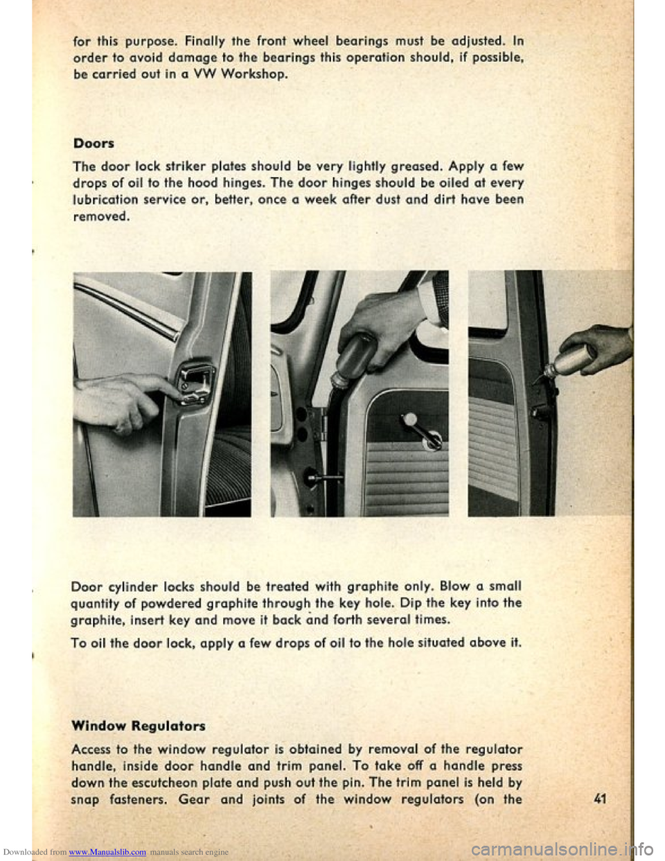 VOLKSWAGEN BEETLE 1960 1.G Owners Manual, Page 43