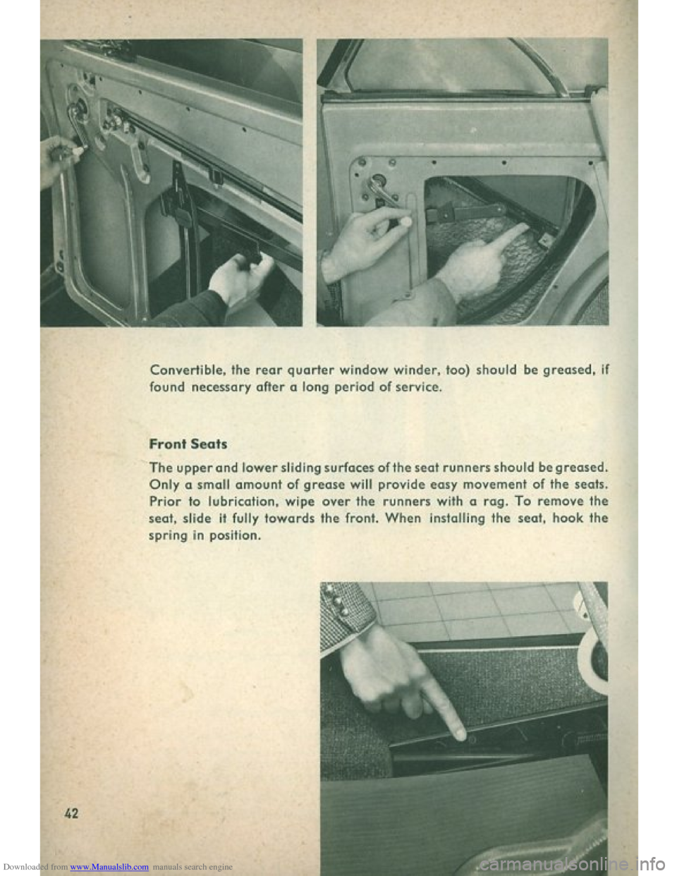 VOLKSWAGEN BEETLE 1960 1.G Owners Manual, Page 44