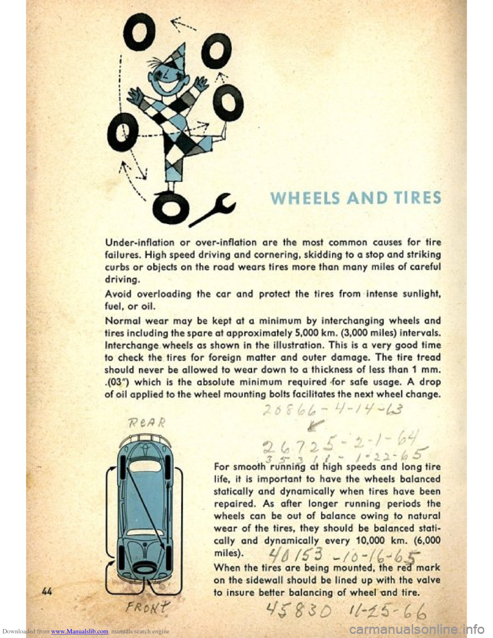 VOLKSWAGEN BEETLE 1960 1.G Owners Manual, Page 46