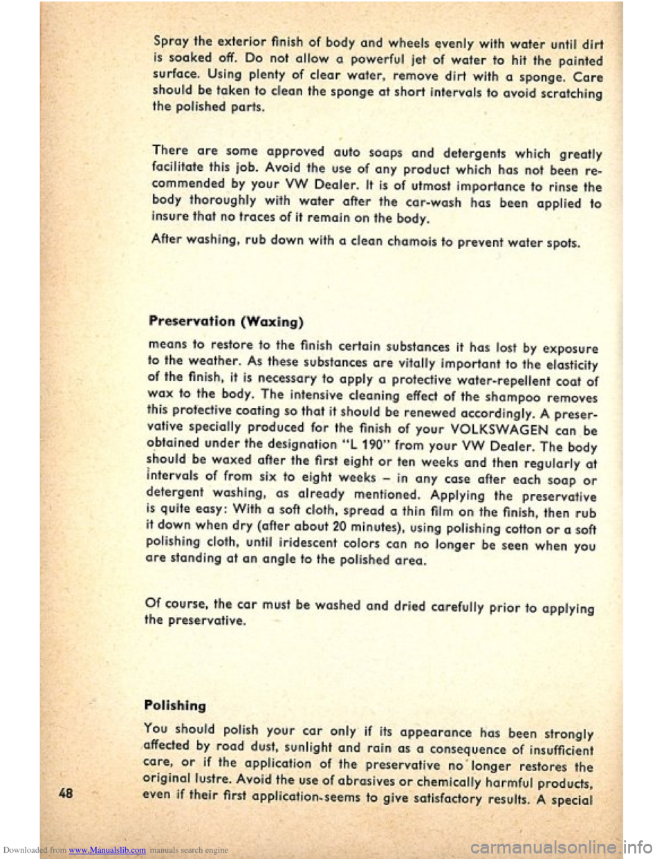 VOLKSWAGEN BEETLE 1960 1.G Owners Manual, Page 50