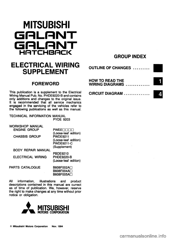 Mitsubishi Galant 1995 7g Electrical Wiring Diagram Workshop Manual Charging
