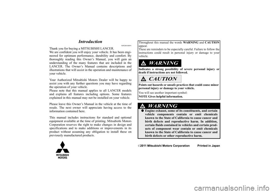 2012 mitsubishi lancer owners manual pdf
