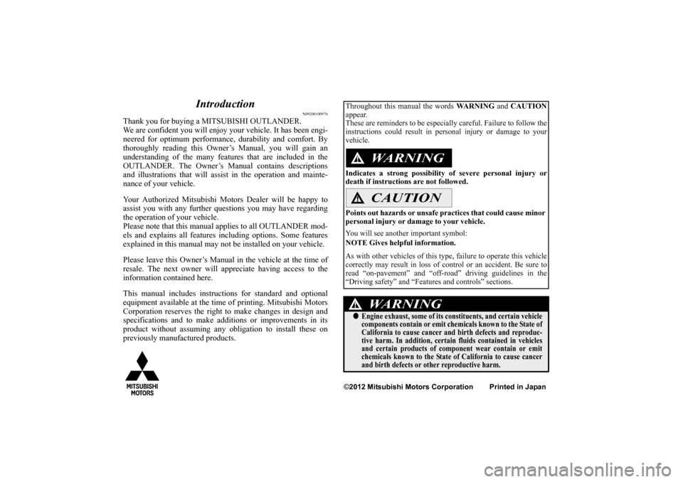 2013 mitsubishi outlander owners manual