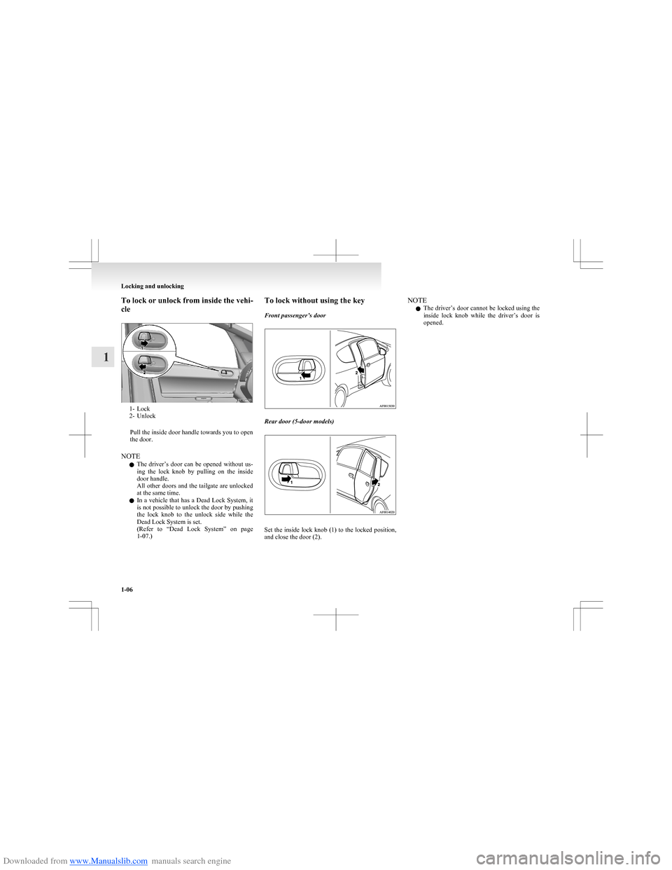 MITSUBISHI COLT 2009 10.G Owners Manual, Page 33