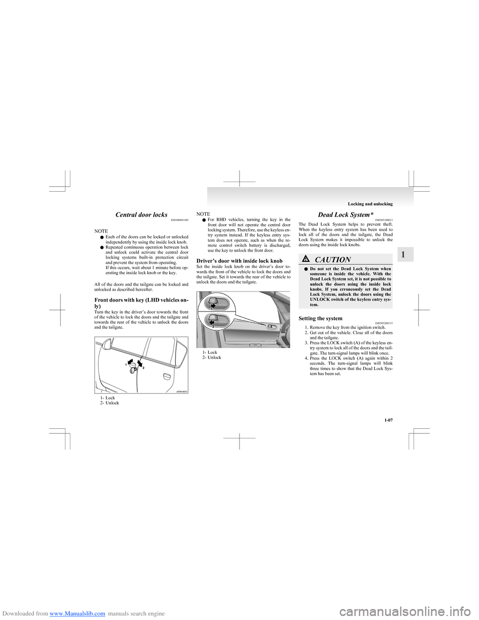 MITSUBISHI COLT 2009 10.G Owners Manual, Page 34