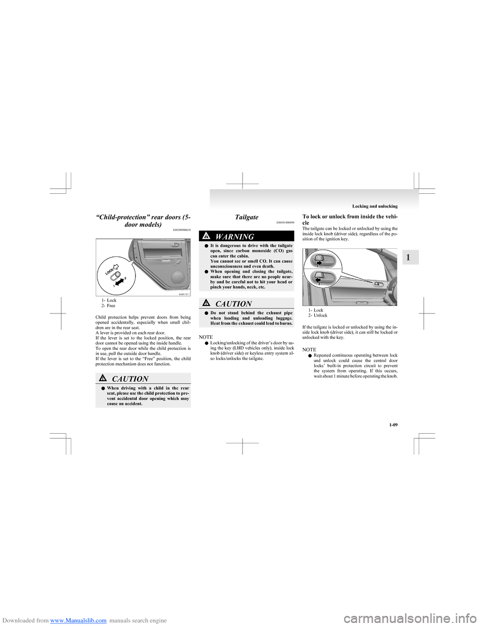 MITSUBISHI COLT 2009 10.G Owners Manual, Page 36