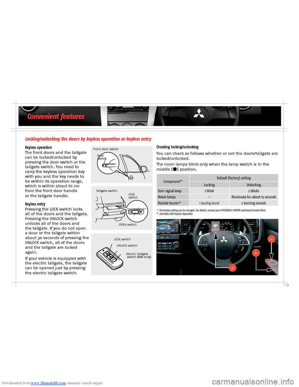 MITSUBISHI OUTLANDER HYBRID 2014 3.G Owners Handbook, Page 21