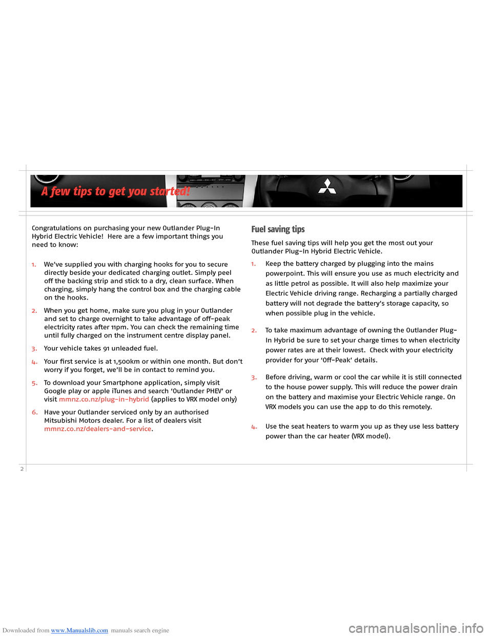 MITSUBISHI OUTLANDER HYBRID 2014 3.G Owners Handbook, Page 4