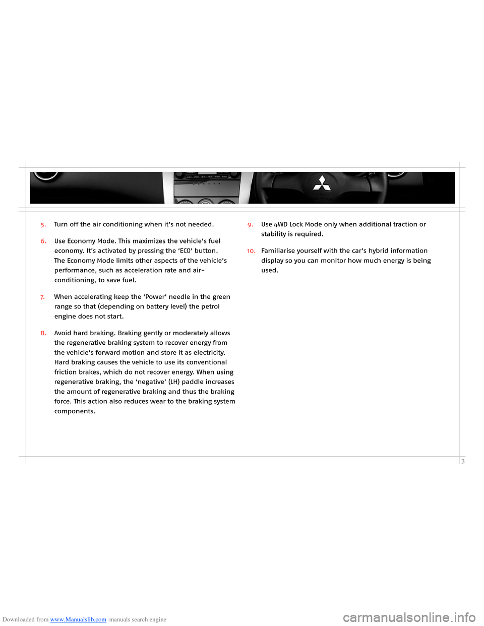 MITSUBISHI OUTLANDER HYBRID 2014 3.G Owners Handbook, Page 5