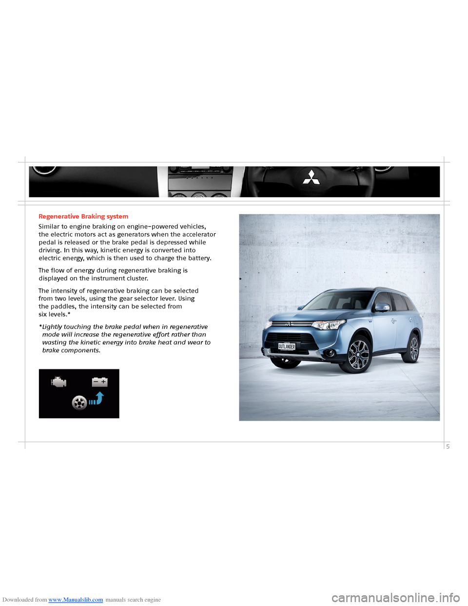 MITSUBISHI OUTLANDER HYBRID 2014 3.G Owners Handbook, Page 7