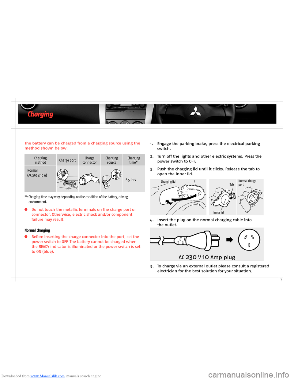 MITSUBISHI OUTLANDER HYBRID 2014 3.G Owners Handbook, Page 9