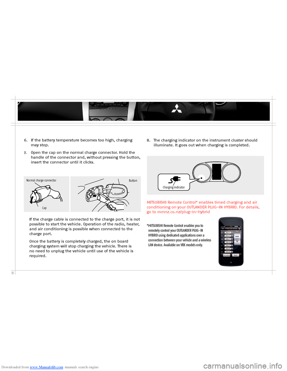 MITSUBISHI OUTLANDER HYBRID 2014 3.G Owners Handbook, Page 10