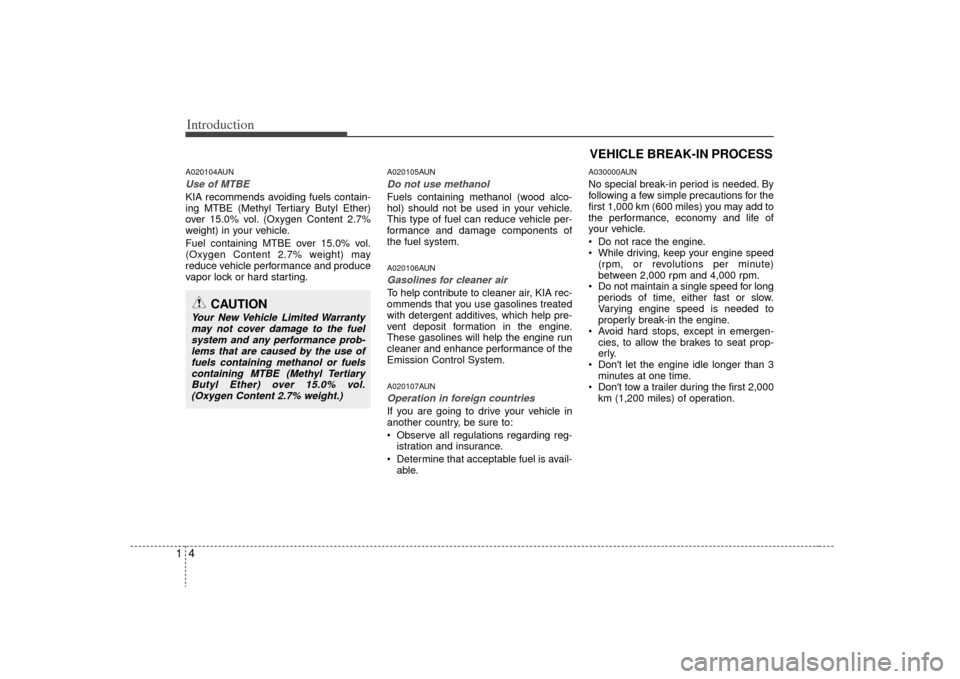 KIA Carens 2009 2.G Owners Manual, Page 7