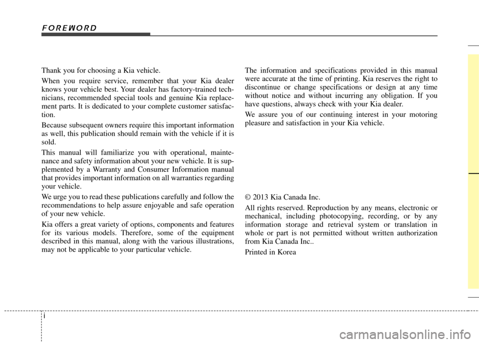 KIA Cadenza 2014 1.G Owners Manual, Page 2