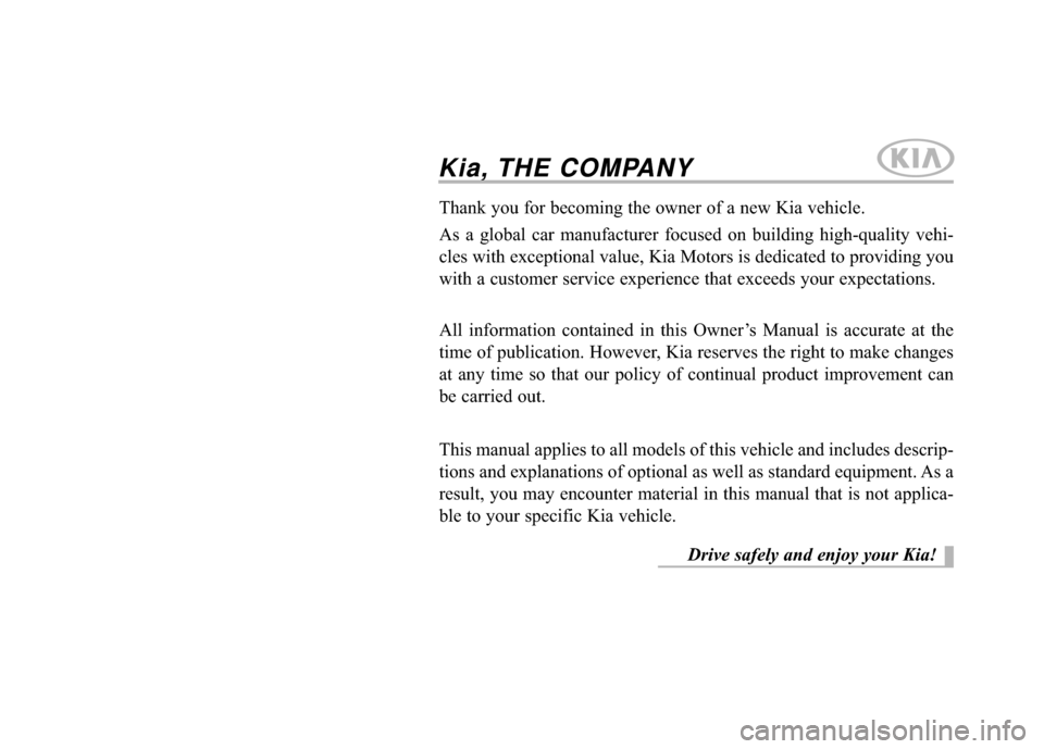 KIA Cadenza 2015 1.G Owners Manual, Page 1