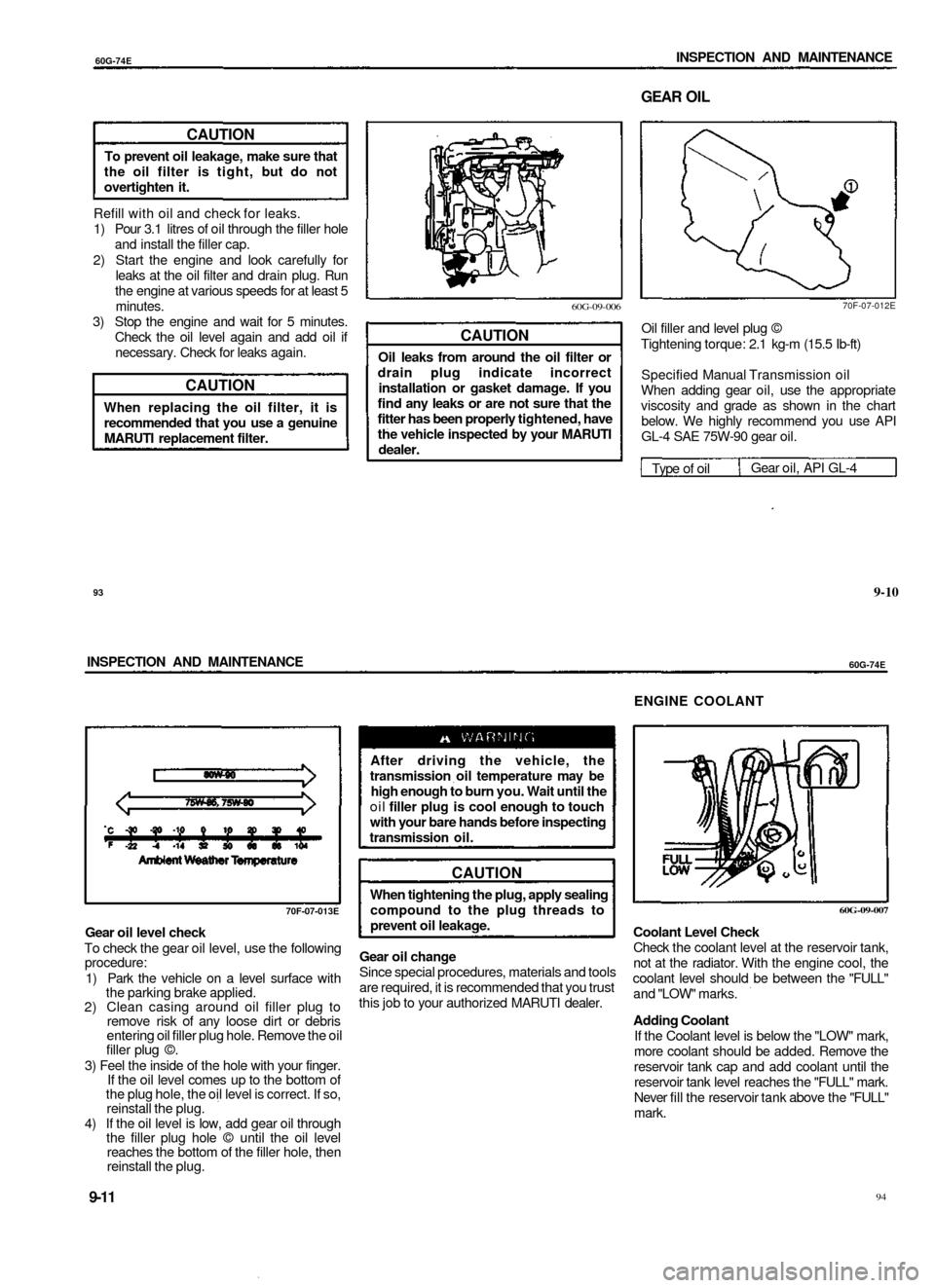 engine coolant suzuki baleno 1999 1 g owners manual