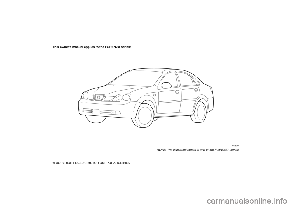 SUZUKI FORENZA 2008 1.G Owners Manual, Page 3