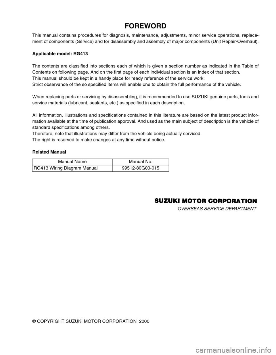 Suzuki Swift 2000 1 G Rg413 Service Workshop Manual