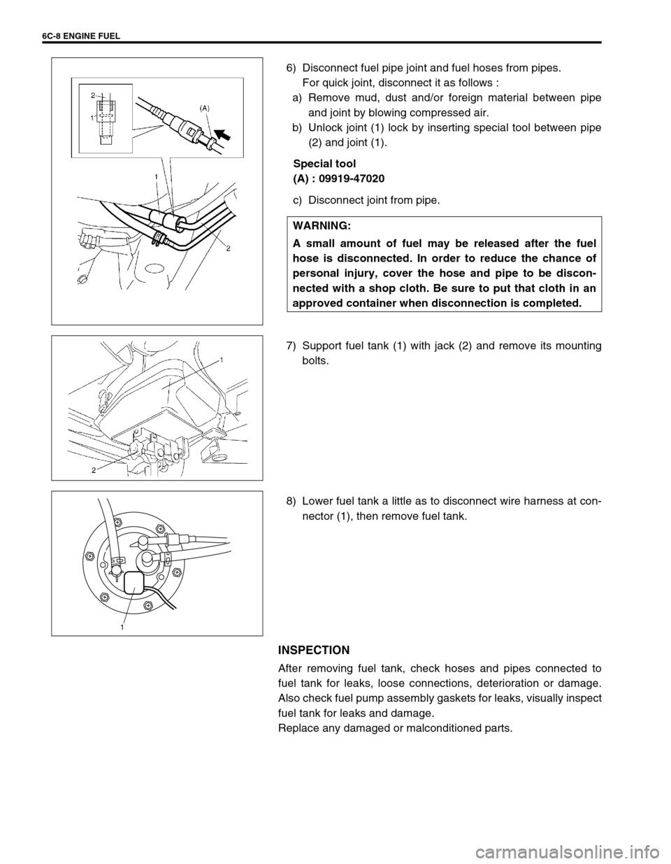 Suzuki Swift 2000 1g Rg413 Service Workshop Manual Fuel Pump Page 615