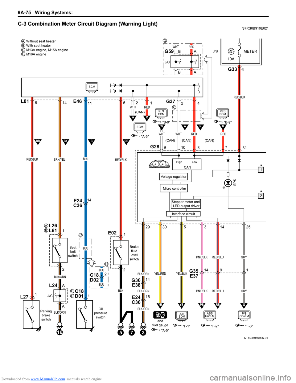 SUZUKI SWIFT 2008 2.G Service Workshop Manual Downloaded from www.Manualslib.com manuals search engine 9A-75 Wiring Systems:  C-3 Combination Meter Circuit Diagram (Warning Light)S7RS0B910E021 J/BMETER 10A25 G2831 3 E24  C3615 G36 E3814 Stepper m