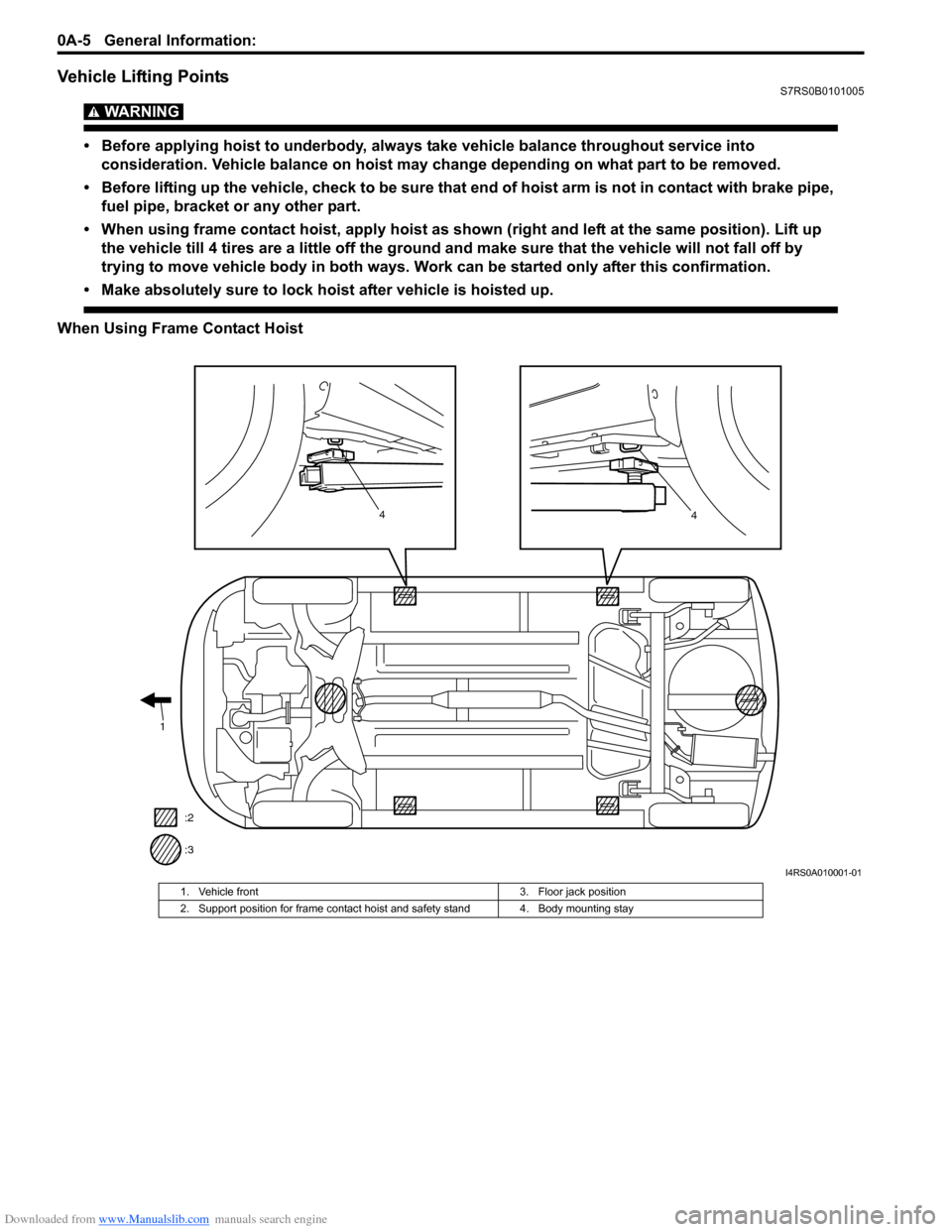 SUZUKI SWIFT 2008 2.G Service Workshop Manual Downloaded from www.Manualslib.com manuals search engine 0A-5 General Information:  Vehicle Lifting PointsS7RS0B0101005 WARNING!  • Before applying hoist to underbody, always take vehicle balance th