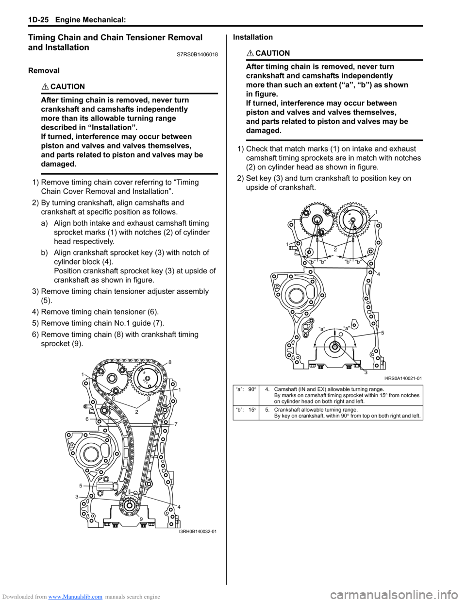 SUZUKI SWIFT 2008 2.G Service Workshop Manual Downloaded from www.Manualslib.com manuals search engine 1D-25 Engine Mechanical:  Timing Chain and Chain Tensioner Removal  and Installation S7RS0B1406018 Removal CAUTION!  After timing chain is remo