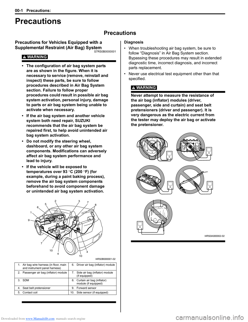 SUZUKI SWIFT 2008 2.G Service Workshop Manual Downloaded from www.Manualslib.com manuals search engine 00-1 Precautions:  Precautions Precautions Precautions Precautions for Vehicles Equipped with a  Supplemental Restraint (Air Bag) System S7RS0B