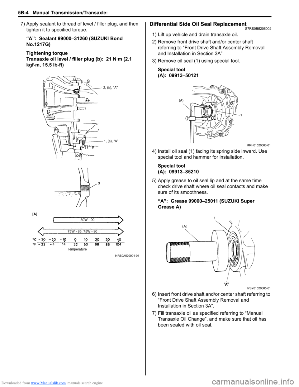 "SUZUKI SWIFT 2006 2.G Service Workshop Manual Downloaded from www.Manualslib.com manuals search engine 5B-4 Manual Transmission/Transaxle:  7) Apply sealant to thread of level / filler plug, and then  tighten it to specified torque. ""A"":  Sea"