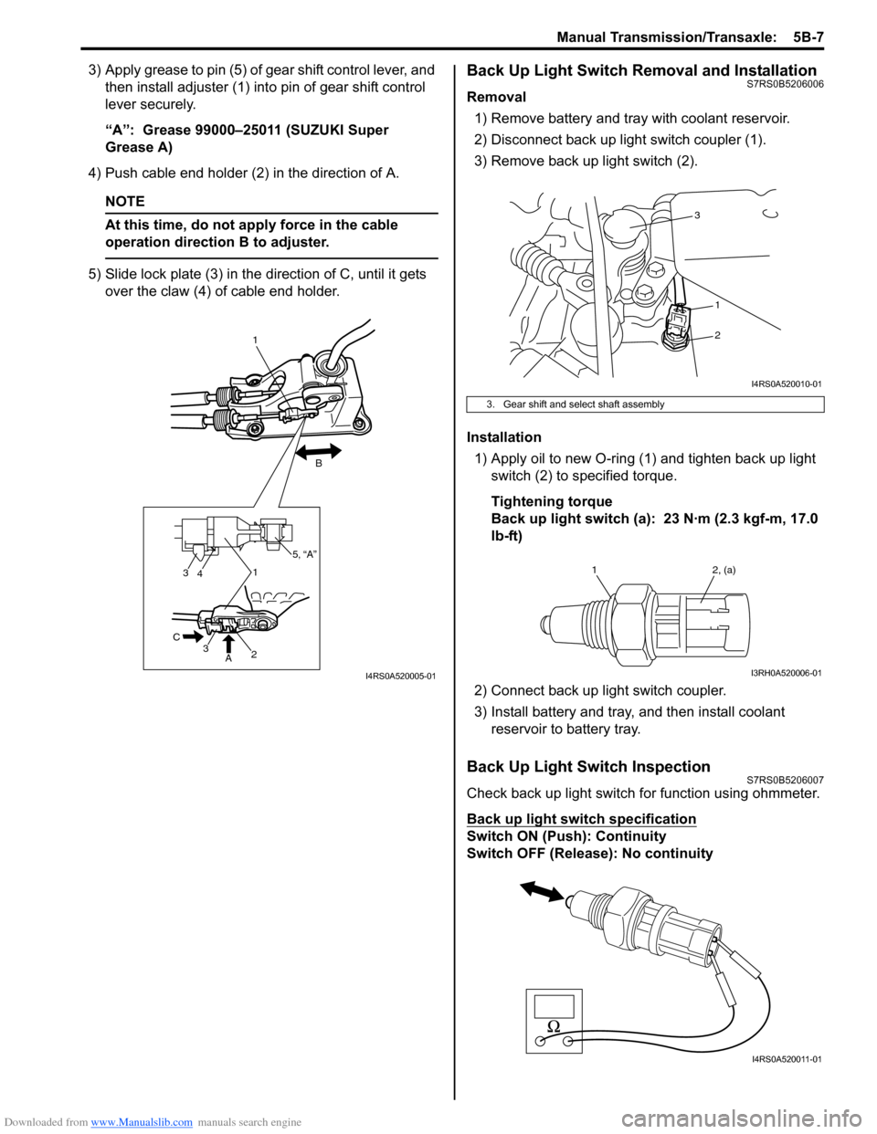 SUZUKI SWIFT 2006 2.G Service Workshop Manual Downloaded from www.Manualslib.com manuals search engine Manual Transmission/Transaxle:  5B-7 3) Apply grease to pin (5) of gear shift control lever, and then install adjuster (1) into pin of gear shi