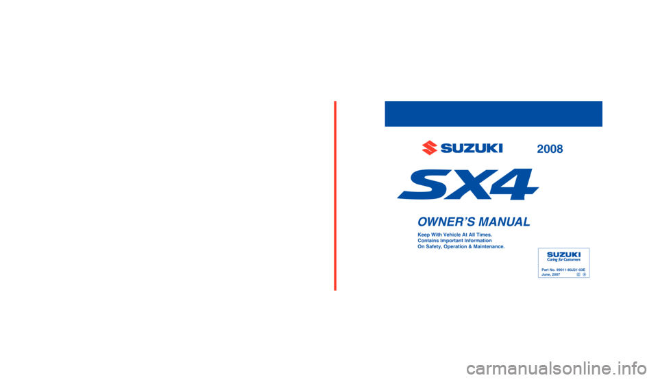 SUZUKI SX4 2008 1.G Owners Manual, Page 1