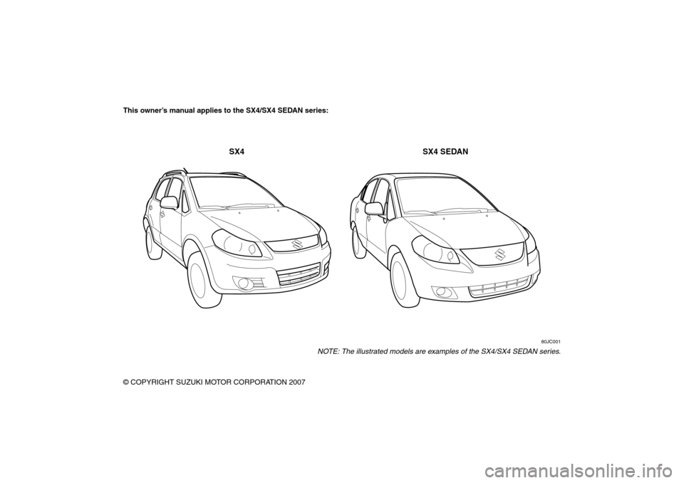 SUZUKI SX4 2008 1.G Owners Manual, Page 2