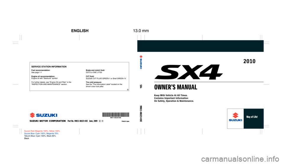 SUZUKI SX4 2010 1.G Owners Manual, Page 1