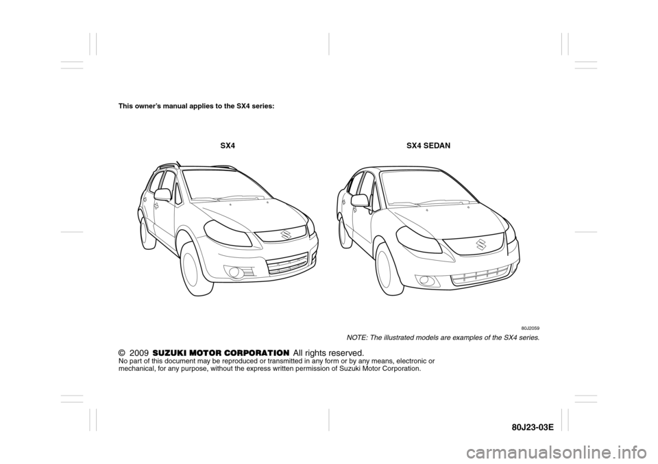 SUZUKI SX4 2010 1.G Owners Manual, Page 2