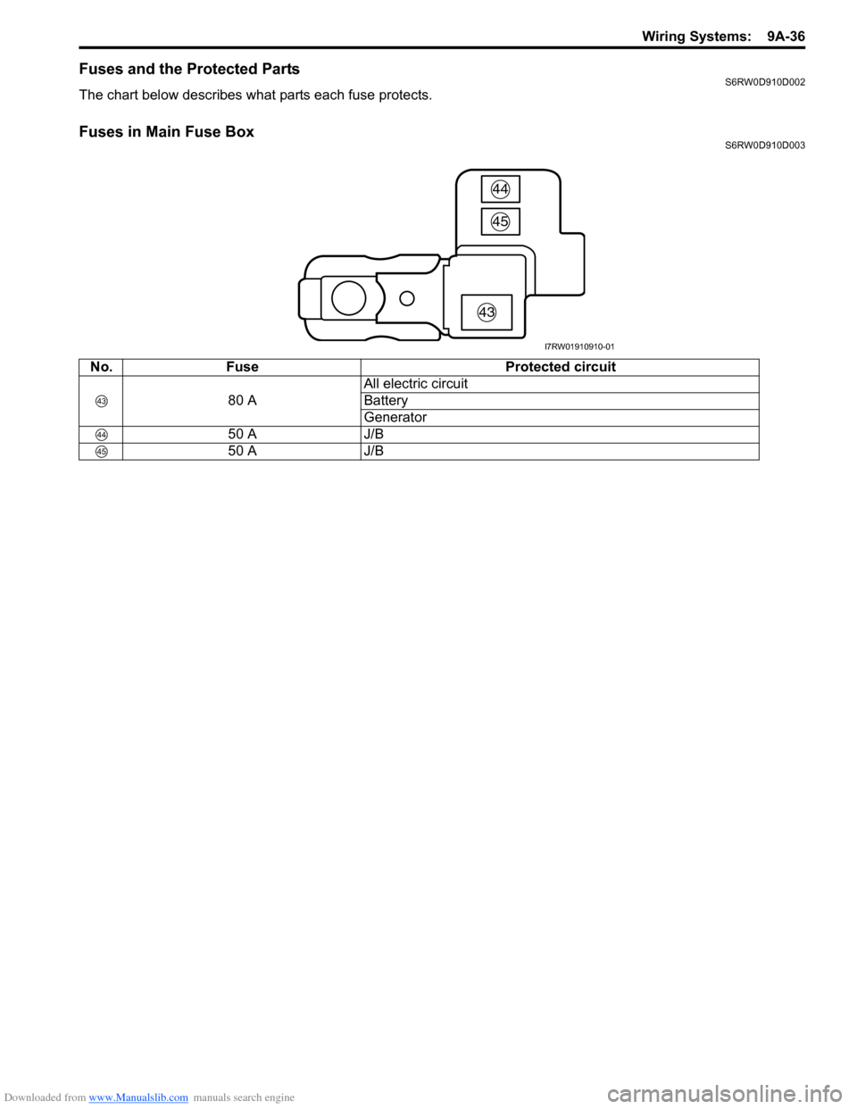 Fuses Suzuki Sx4 2006 1g Service Workshop Manual Electric Wiring Diagram For G 50a Page 1203