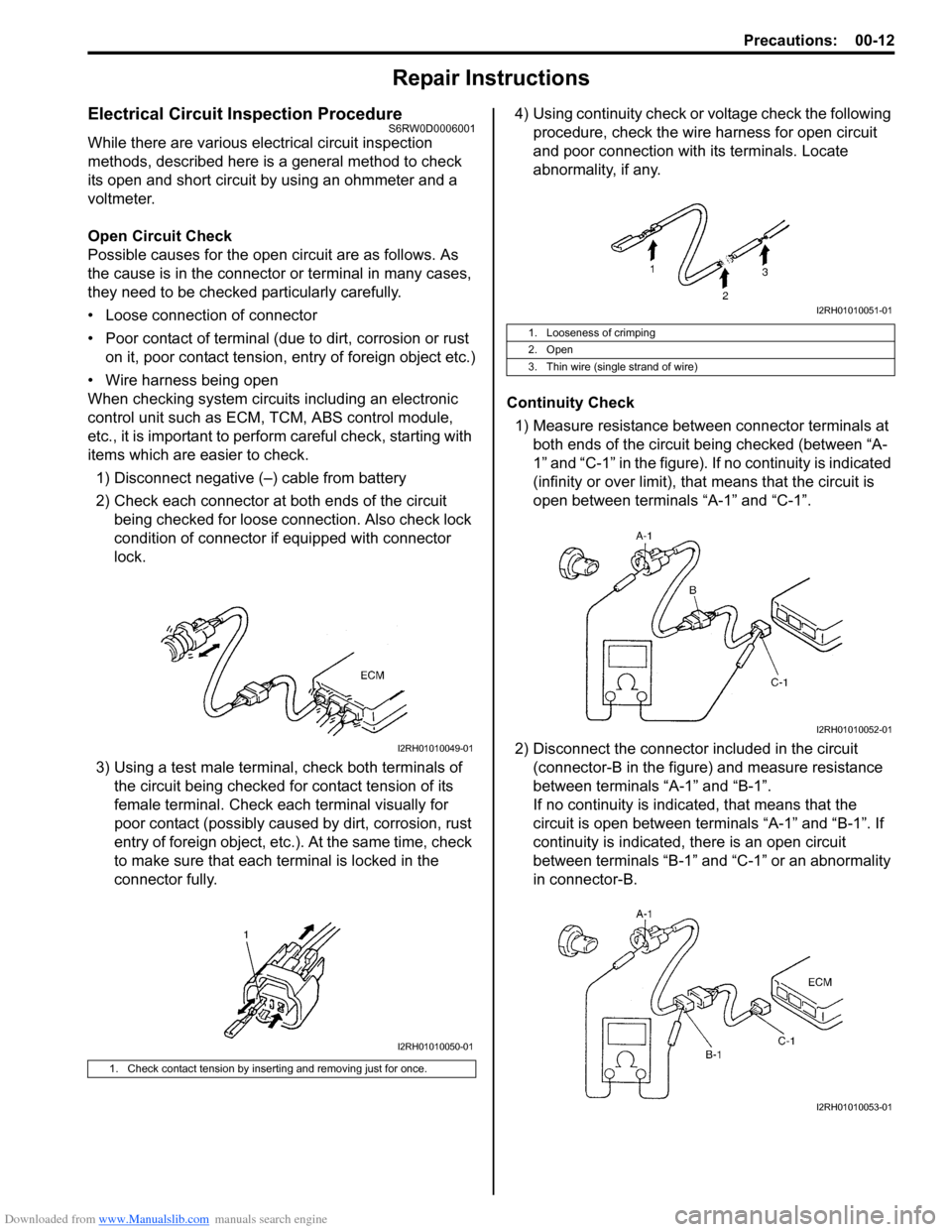 Abs Suzuki Sx4 2006 1g Service Workshop Manual An Open Circuit Will Show No Continuity Or Infinite Resistance A Page 19 Of 1556