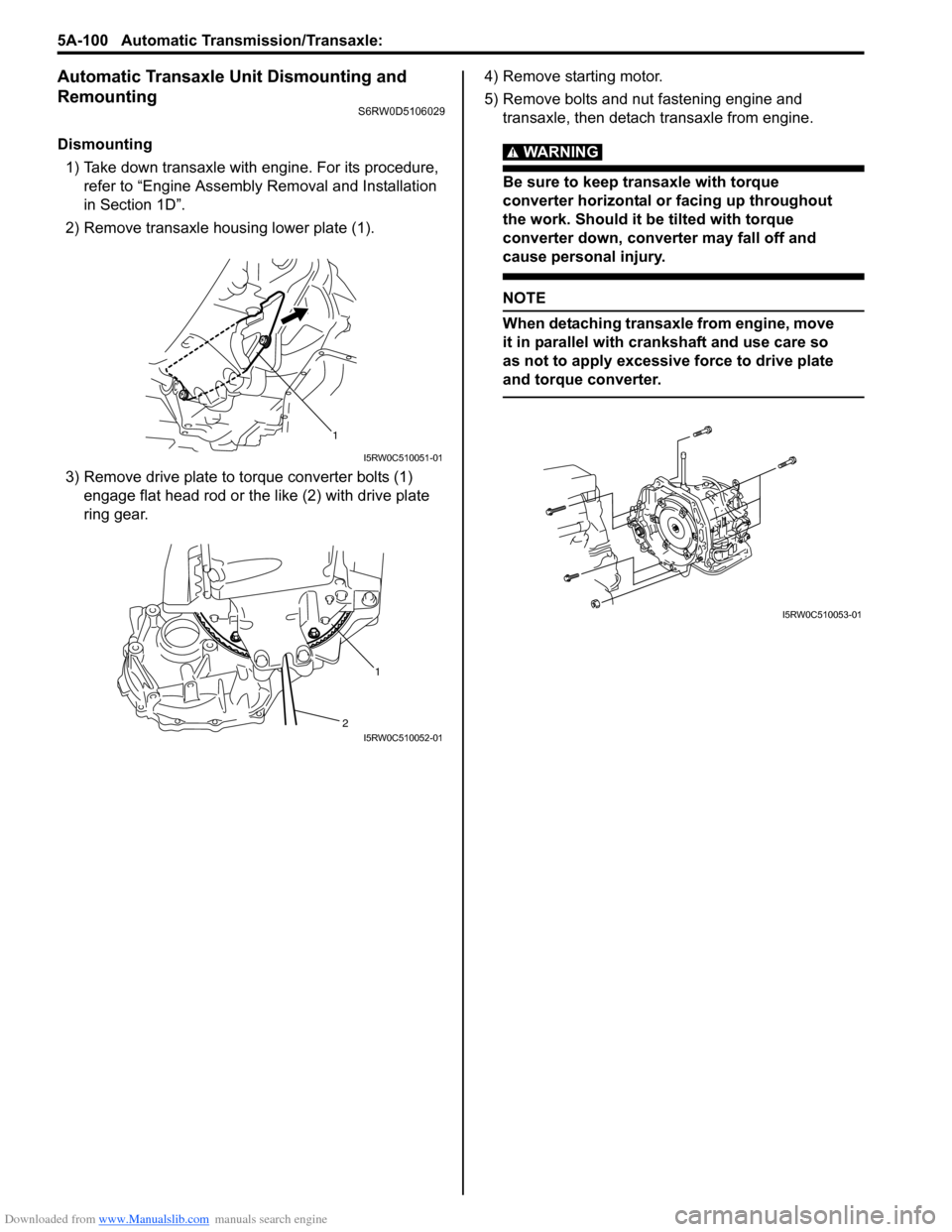 Warning Suzuki Sx4 2006 1g Service Workshop Manual Automatic Transmission Diagram How An Works G Page 748