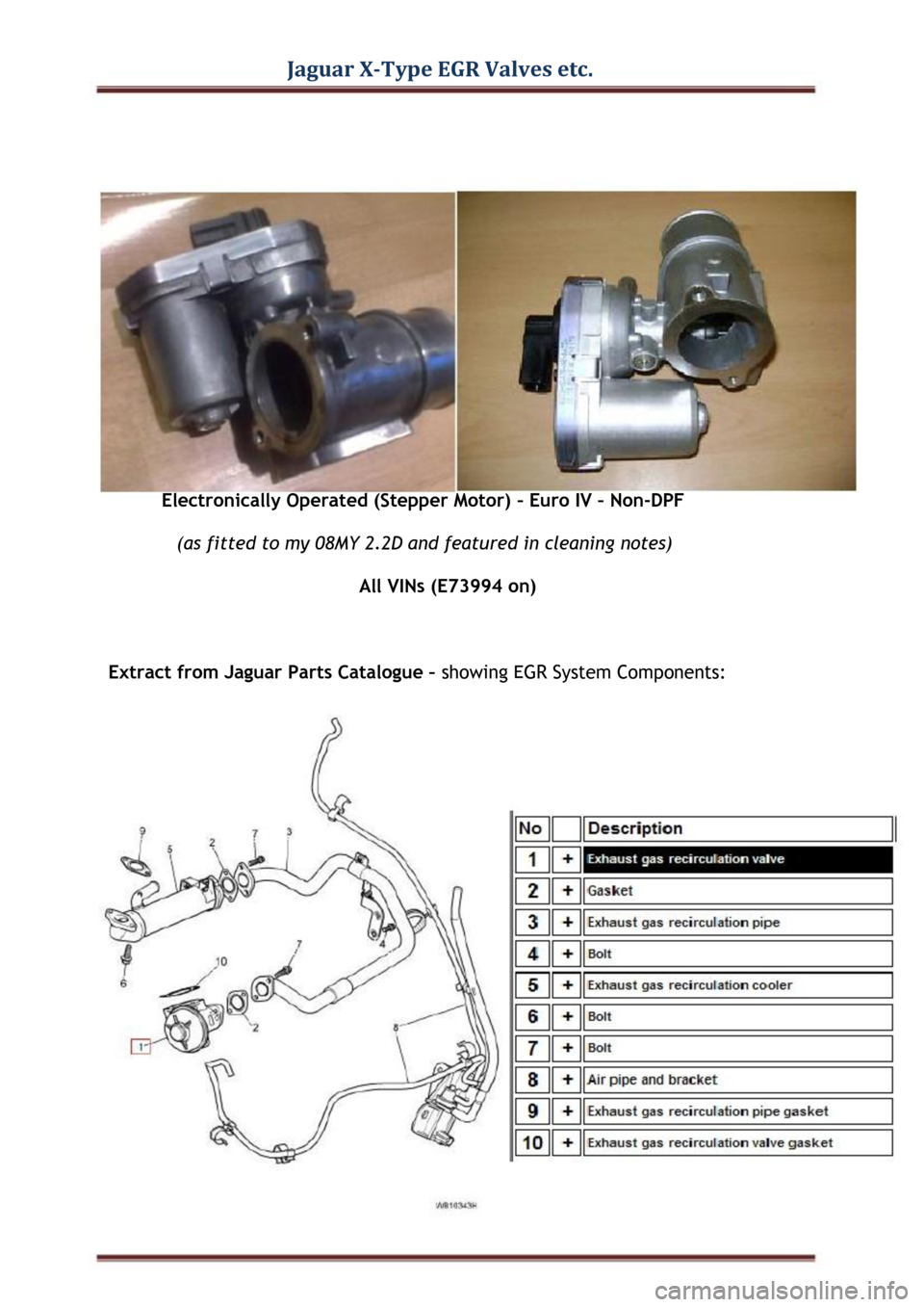 JAGUAR X TYPE 2004 1.G EGR Valves Parts Manual Jaguar X-Type EGR Valves etc.  Electronically Operated (Stepper Motor) – Euro IV – Non-DPF  (as fitted to my 08MY 2.2D and featured in cleaning notes)  All VINs (E73994 on)  Extract from Jaguar Pa