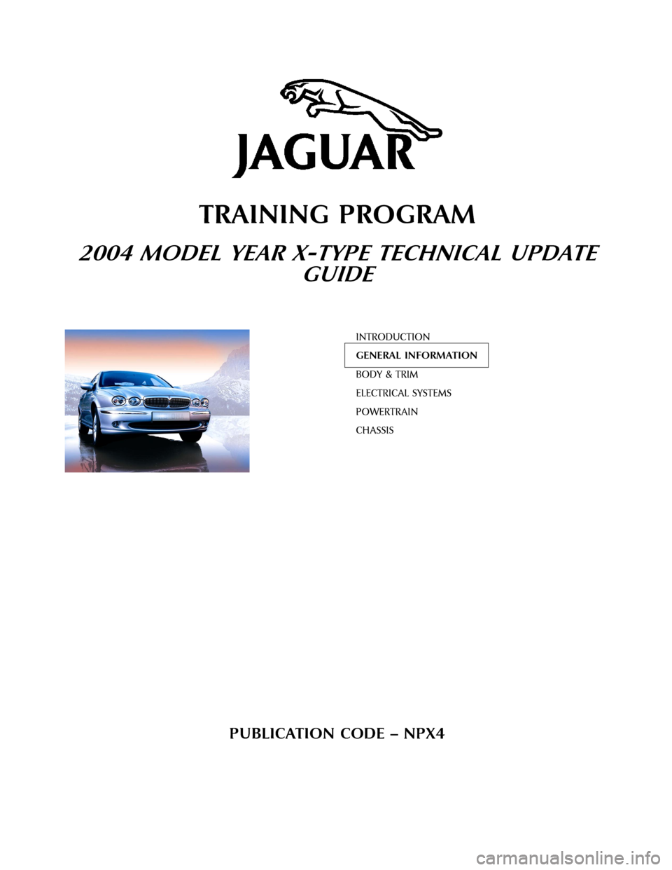 JAGUAR X TYPE 2004 1.G Technical Guide Update