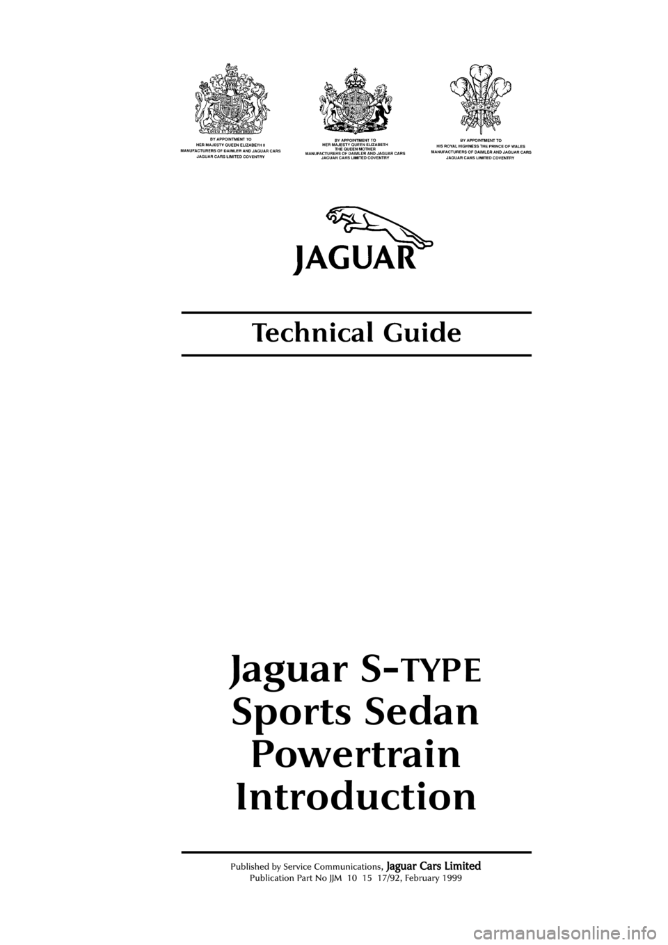 JAGUAR S TYPE 1999 1.G Powertrain Manual, Page 4