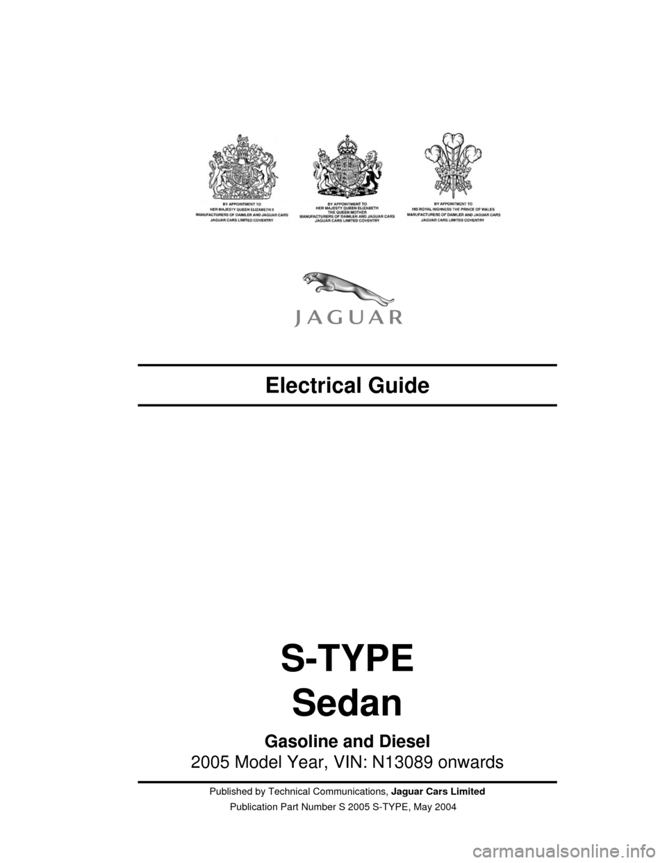 JAGUAR S TYPE 2005 1.G Electrical Manual, Page 3