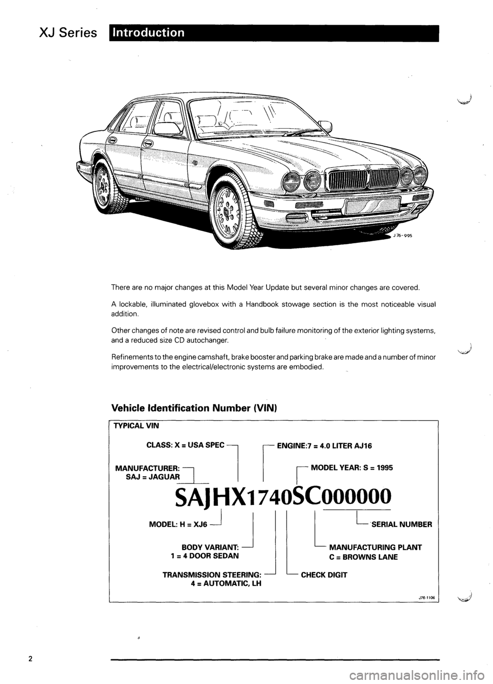 JAGUAR XJ6 1995 2.G Model Year Supplement Manual, Page 5