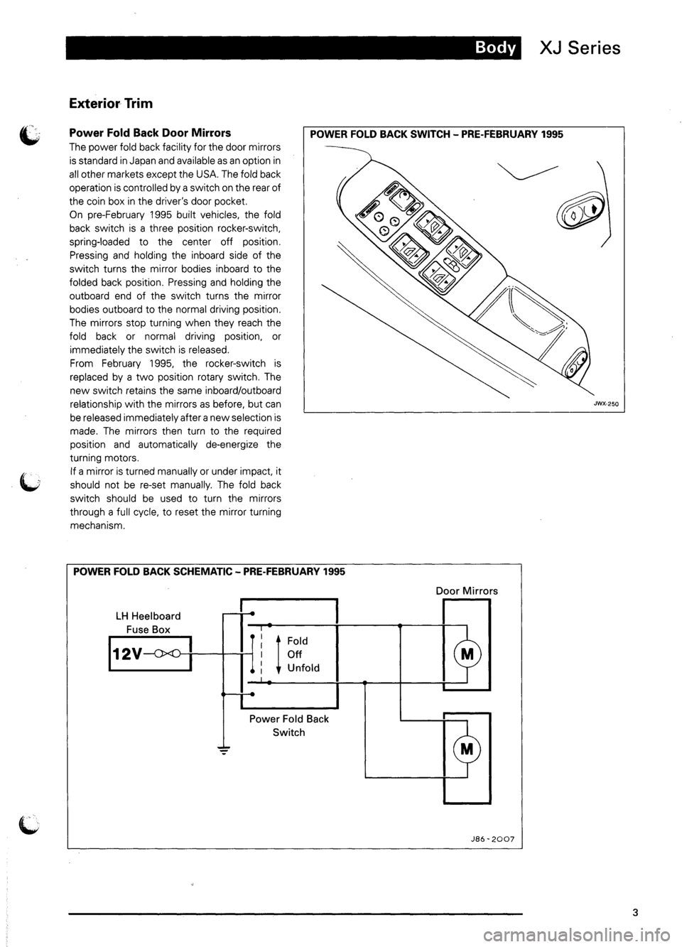 JAGUAR XJ6 1995 2.G Model Year Supplement Manual, Page 6